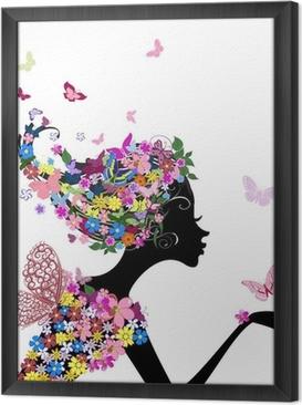 Tableau encadré Fille avec des fleurs et des papillons