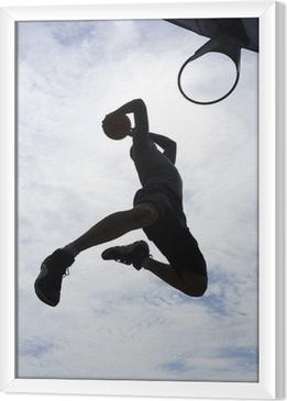 Tableau encadré Joueur de basket slam dunk silhouette