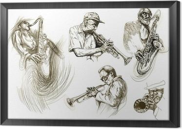 Tableau encadré Les hommes de jazz (collection de dessins de croquis à la main)