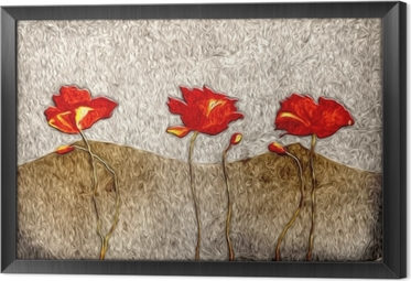 Tableau encadré Peinture à l'huile de fleurs abstraites