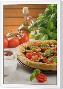 Tableau encadré Pizza sur la table en bois