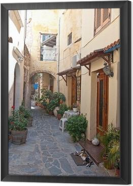 Tableau encadré Rue grecque traditionnelle.