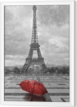 Tableau encadré Tour Eiffel sous la pluie. Photo noir et blanc avec un élément rouge