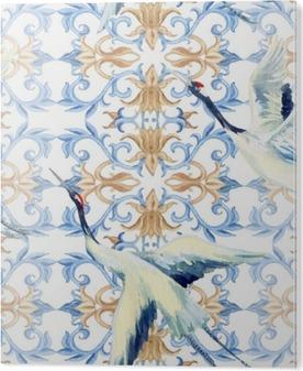 Tableau Plexiglas Aquarelle chinoise seamless