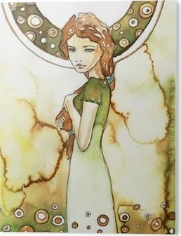 Tableau Plexiglas Belle fille dans un cadre verdoyant Art Nouveau