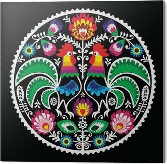 Tableau Plexiglas Broderie florale polonais avec des coqs - folklorique