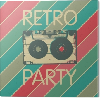 Tableau Plexiglas Conception d'affiche fête musique rétro. modèle d'invitation fête vintage musique disco.