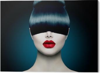 Tableau Plexiglas Haute Portrait Girl Fashion Fringe Modèle avec la mode