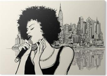 Tableau Plexiglas La chanteuse de jazz afro-américain