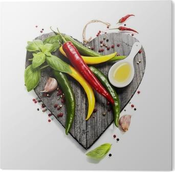 Tableau Plexiglas Légumes frais sur le coeur en forme de planche à découper
