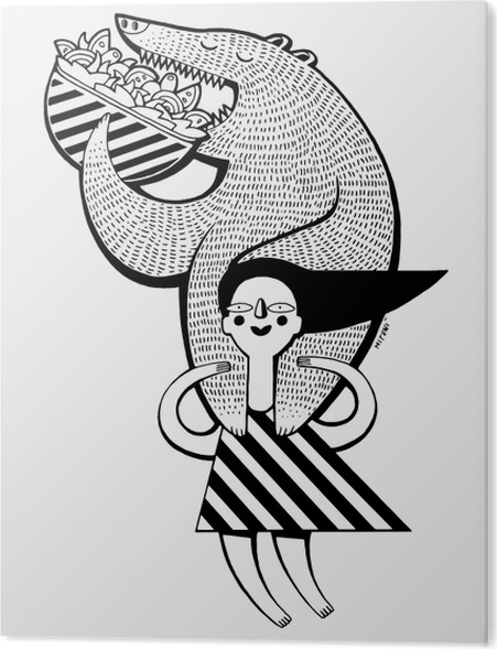 Tableau Plexiglas Petite fille tenant l'ours manger kebap -