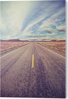 Tableau Plexiglas Retro stylisé route du désert, concept aventure Voyage.