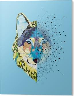 Tableau Plexiglas Tête Wolf en motif géométrique avec le vecteur de ligne étoile