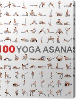 Tableaux premium 100 poses de yoga sur fond blanc