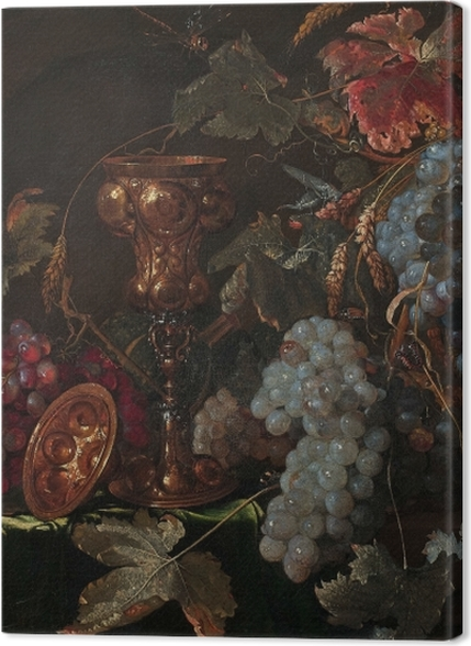 Tableaux premium Abraham Mignon - Grape and silverware cup on an entablature - Reproductions