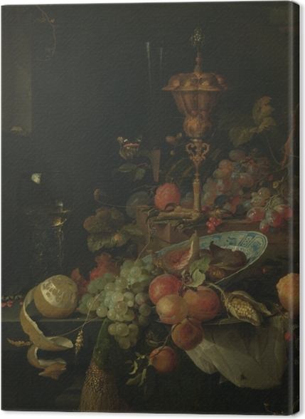 Tableaux premium Abraham Mignon - Still life with fruit and a bowl on a roosters leg - Reproductions