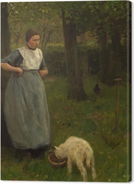 Tableaux premium Anton Mauve - Femme de Laren avec Agneau - Reproductions