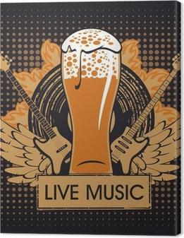 Tableaux premium Bannière de la pub avec musique live