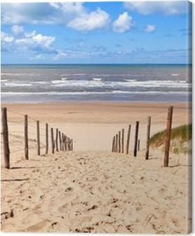 Tableaux premium Chemin de la plage de sable par la mer du Nord