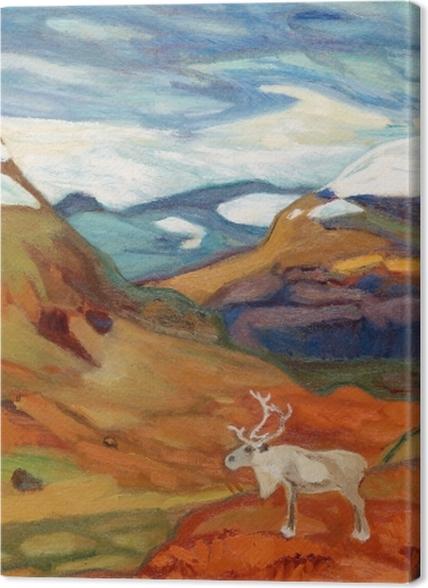 Tableaux premium Helmer Osslund - Paysage d'automne avec des rennes - Reproductions