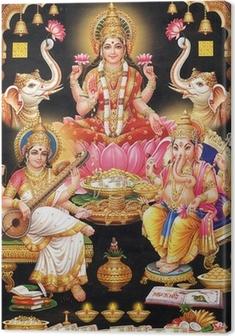Tableaux premium INDIAN LAKSHMI MAA GODESS AVEC MAA Saraswati et Ganesh Ji