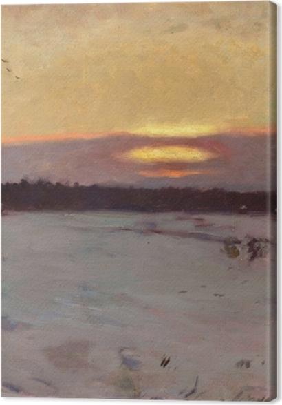 Tableaux premium Józef Chełmoński - Coucher de soleil en hiver - Reproductions