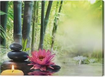 Tableaux premium Massage dans la nature - lis, pierres, bambou - notion zen
