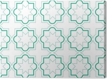 Tableaux premium Modèle sans couture de carreaux géométriques marocaines, conception de carreaux de vecteur, fond vert et blanc