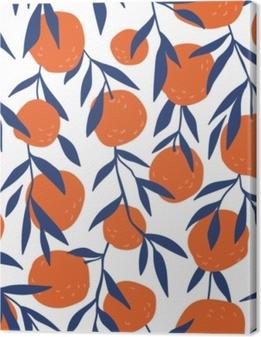 Tableaux premium Modèle sans couture tropical avec des oranges rouges. fruit répété fond. impression lumineuse de vecteur pour tissu ou papier peint.