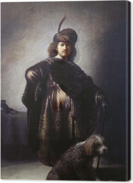 Tableaux premium Rembrandt - Autoportrait de l'artiste en costume oriental avec caniche - Reproductions