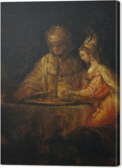 Tableaux premium Rembrandt - Le Festin d'Esther avec Aman et Assuérus - Reproductions