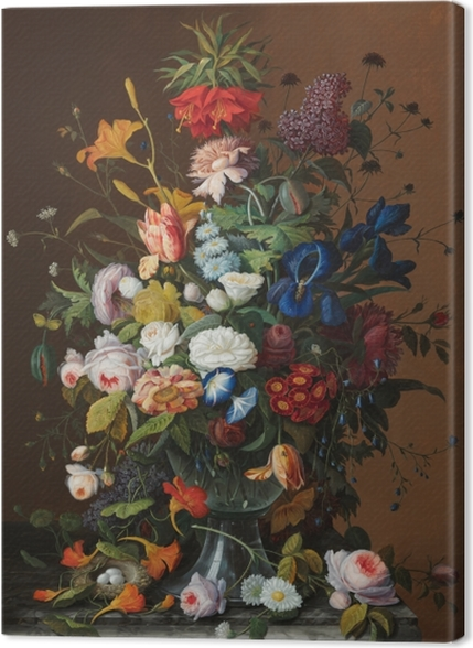 Tableaux premium Severin Roesen - Flower Still Life with Bird's Nest - Reproductions