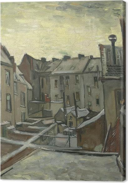 Tableaux premium Vincent van Gogh - Arrière-cours des maisons anciennes à Anvers dans la neige - Reproductions