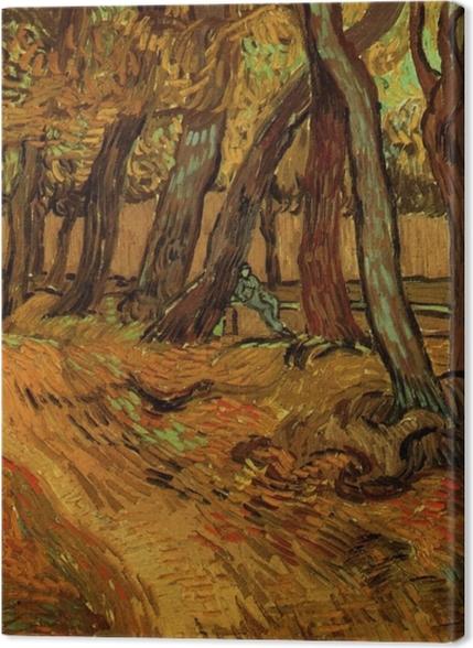 Tableaux premium Vincent van Gogh - Le Jardin de Saint-Paul Hospital avec la figure - Reproductions