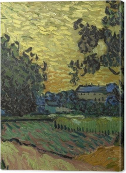 Tableaux premium Vincent van Gogh - Paysage avec le château d'Auvers au coucher du soleil - Reproductions