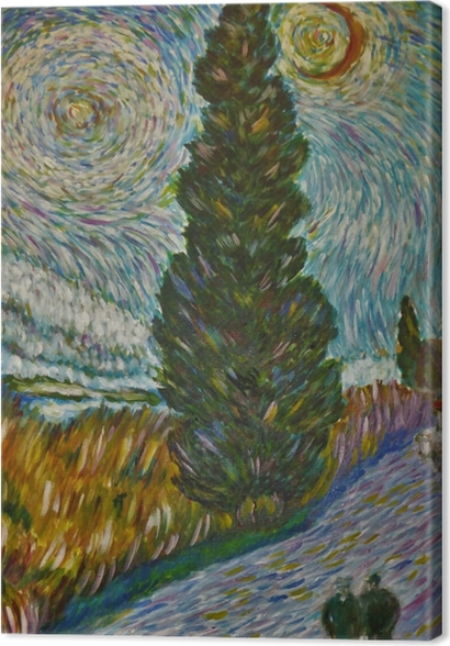 Tableaux premium Vincent van Gogh - Route avec un cyprès et une étoile - Reproductions