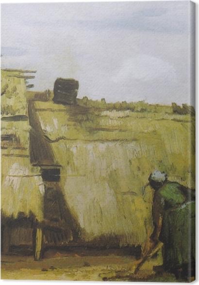 Tableaux premium Vincent van Gogh - Une paysanne creuser devant son chalet - Reproductions
