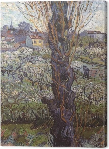 Tableaux premium Vincent van Gogh - Verger en fleur avec vue d'Arles - Reproductions