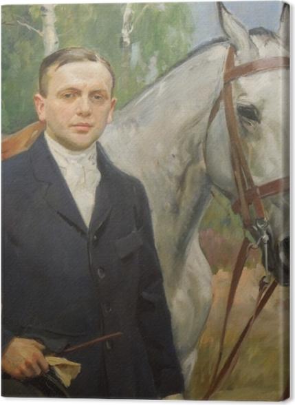 Tableaux premium Wojciech Kossak - Portrait de Bronisław Krystall avec un cheval - Reproductions