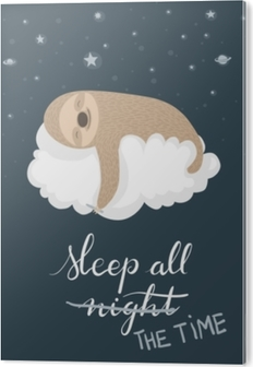 Tableau PVC Affiche paresseux endormi