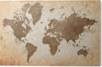 Tableau PVC Carte du monde avec un fond texturé