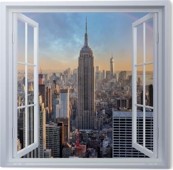 Images Toile Fenêtre Vue Forêt sur le cadre de la fresque Visario IMAGE 5001
