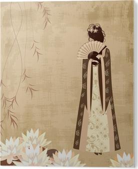 Tableau PVC Fille chinoise sur le papier grunge