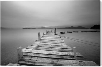 Tableau PVC La recherche sur un quai et les bateaux, noir et blanc