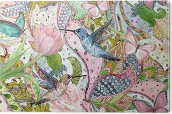 Tableau PVC Mode texture transparente avec ornement floral ethnique et colibris. peinture à l'aquarelle