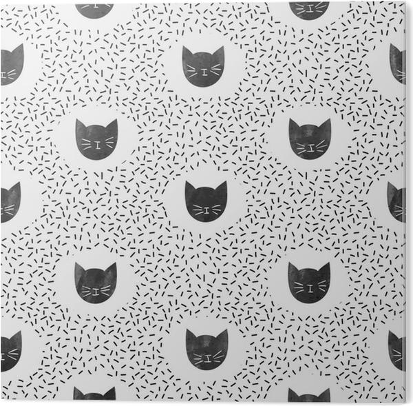Tableau PVC Modèle de mode sans couture avec des chats noirs mignons. fond  de points de vecteur.