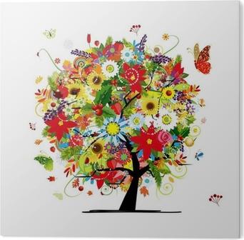 Tableau PVC Quatre saisons concept. Arbre de l'art pour votre conception