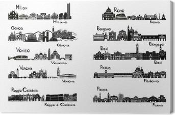 Tableau sur toile 10 villes d'Italie - signts silhouette