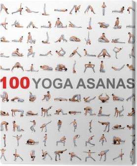 Tableau sur toile 100 poses de yoga sur fond blanc