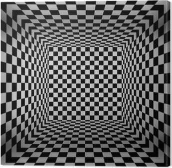Tableau sur toile 3d cube damier chambre